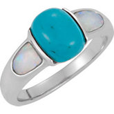 Genuine Chinese Turquoise and Opal Ring