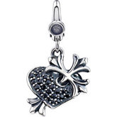 Black CZ Heart & Cross Charm