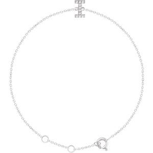 "14K White .05 CTW Diamond Initial ""I"" 6-7"" Bracelet"