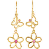 Pink Tourmaline Floral & Butterfly Design Earrings or Mounting