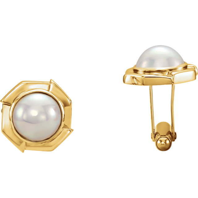 14K Yellow Mabé Cultured Pearl Cuff Links