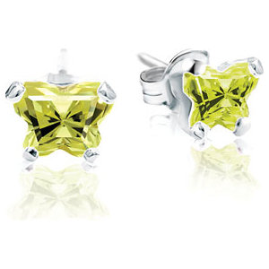 Sterling Silver August Bfly® AZ Birthstone Youth Earrings with Friction Backs and Box