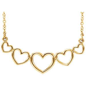 """14K Yellow Graduated Heart 17.3"""" Necklace"""