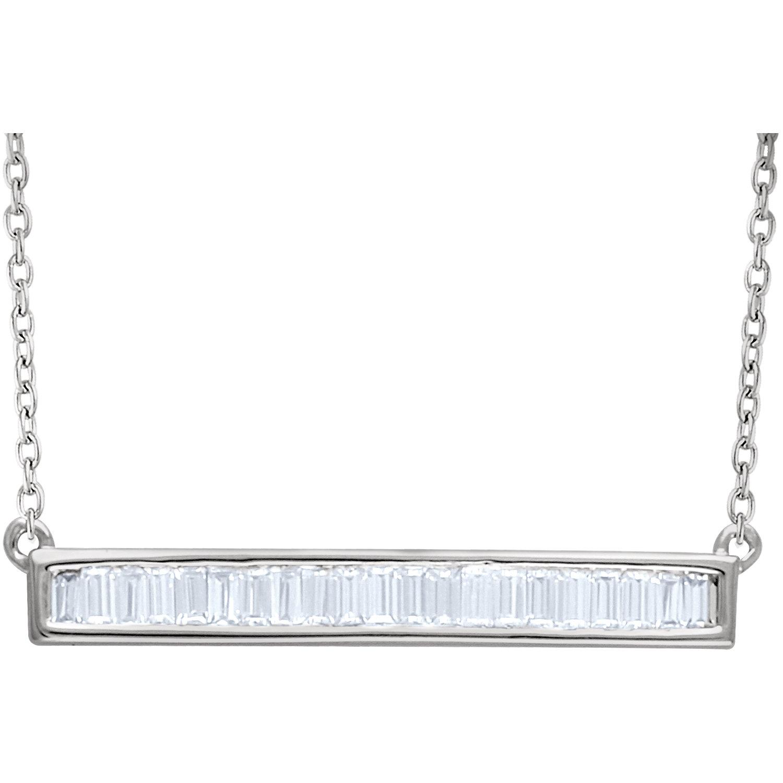 """14kt White 1/2 CTW Diamond Baguette Horizontal Bar 16-18"""" Necklace"""