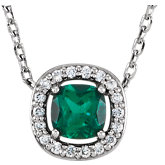 Gemstone & Diamond Halo-Styled Necklace or Mounting