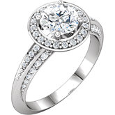 Diamond Semi-mount Halo-Style Knife Edge Engagement Ring or Mounting