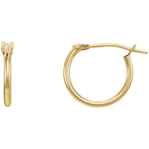 14K Yellow 11.7mm Youth Hoop Earrings with Packaging