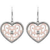 Diamond Heart Shape Lever Back Earrings