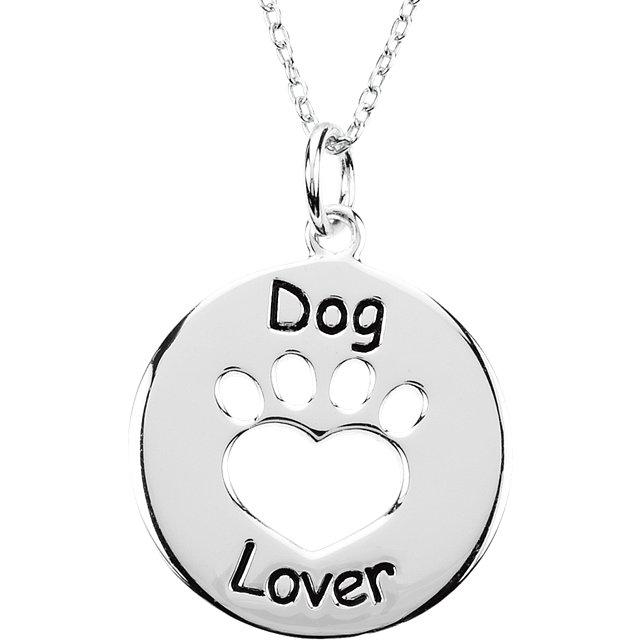 Sterling Silver Heart U Back™ Dog Lover Paw Necklace