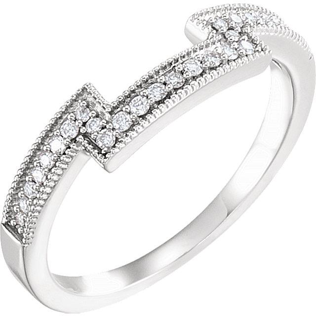 14K White 1/10 CTW Diamond Band for 5mm Square Ring