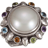 Mabé Cultured Pearl & Multi Gemstone Ring