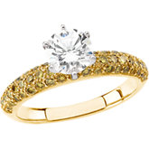 14kt Yellow & Whiite 1 CT White Diamond & 3/4 CTW Yellow Diamond Engagement Ring