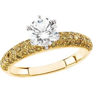 Yellow & White Diamond Engagement Ring, Base or Band