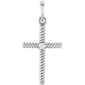 Diamond Cross Rope Design Pendant or Mounting