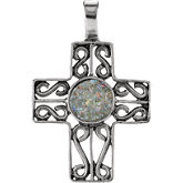 Cross Pendant with Ancient Roman Glass Design
