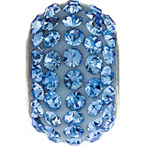Kera® Roundel Bead with Pave'  Light Sapphire Crystals
