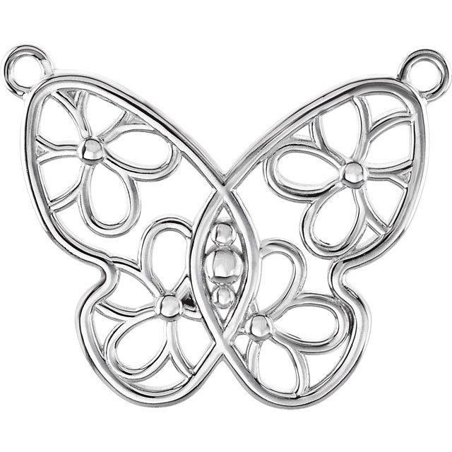 Vishal Jewelry Sterling Silver Butterfly & Floral Design Neck Trim Mounting or Polished Necklace at Sears.com