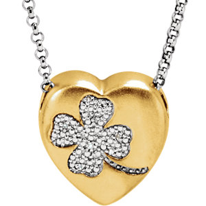 .025 CTW Diamond Clover Heart Necklace