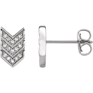 "14K White 1/10 CTW Diamond Triple ""V"" Earrings"