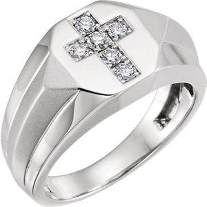 14K White 1/3 CTW Diamond Men's Ring