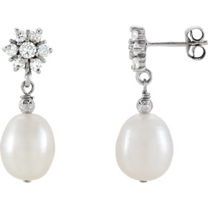 Freshwater Cultured Pearl & Cubic Zirconia Earrings