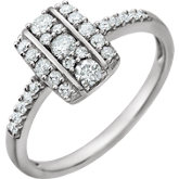 Diamond Rectangle Cluster Ring