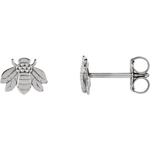 14K White Bumblebee Earrings