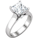 Princess/Square Accented Cathedral-Style Engagement Ring Mounting