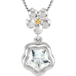 "Sterling Silver WHITE Cubic Zirconia BFlower™ 15-17"" Necklace with Box"