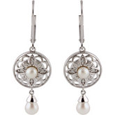 Freshwater Cultured Pearl & .08 ct tw Diamond Earrings