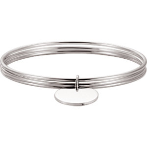 Sterling Silver Triple Bangle Bracelet with Aircle Aharm