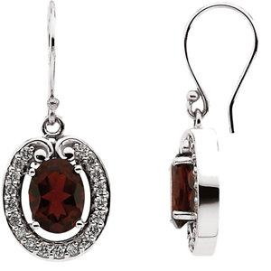 Mozambique Garnet & Diamond Earrings