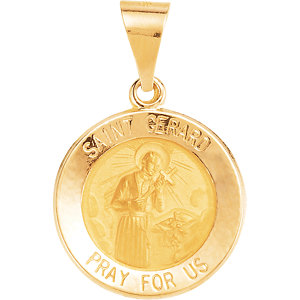 14kt Yellow 15mm Round Hollow St. Gerard Medal