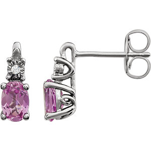 Gemstone Earrings with Diamond Accent