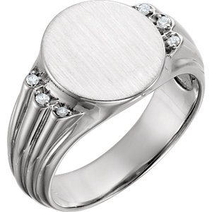 14K White .07 CTW Diamond Men's Oval Signet Ring