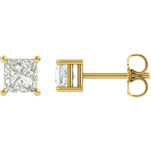 Created Moissanite Princess/Square 4-Prong Earrings