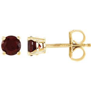14kt Yellow 4mm Round Mozambique Garnet Earrings