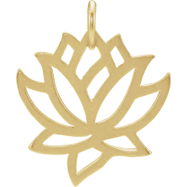 Sterling Silver Plated with 24K Gold Lotus Charm