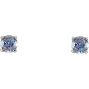 14K White Imitation Alexandrite Youth Earrings