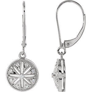 Sterling Silver 1/1  ATW Diamond Lever Back Earrings