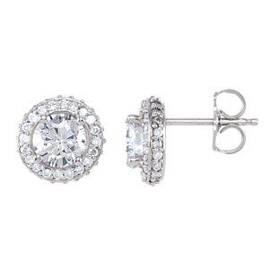 14K White 1 1/3 CTW Diamond Earrings