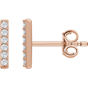 14kt Rose 1/1  ATW Diamond Vertical Bar Earrings