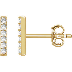 14kt Yellow 1/1  ATW<br> Diamond Vertical Bar<br> Earrings