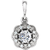 Diamond or Gemstone Halo-Style Pendant or Mounting