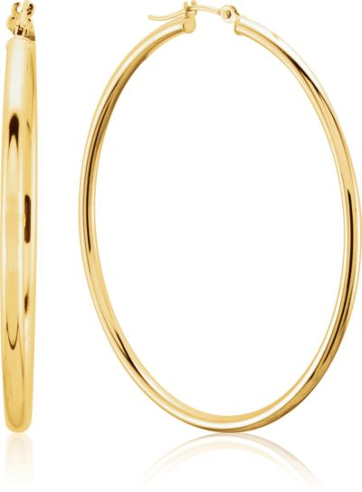 Metal Fashion Hoop Earrings 14K Yellow Gold