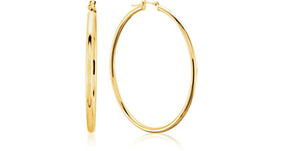 Metal Fashion Hoop Earrings 14K Yellow Gold