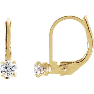 14K Yellow Cubic Zirconia Youth Lever Back Earrings