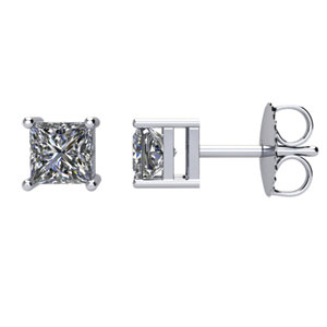 I₁ G-H Princess Diamond Friction Post Stud Earrings