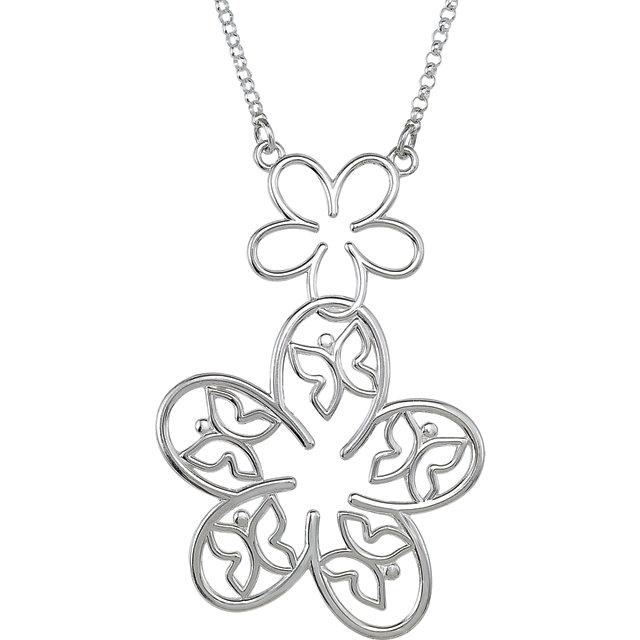 Sterling Silver Flower & Butterfly 18