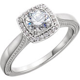 Diamond Semi-Mount Halo-Styled Engagement Ring or Mounting